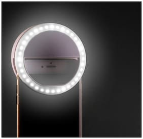 TSV  LED Selfie Ring Light Clip-on Camera Adjustable 3 Level Light Settings for Smartphones, for Night Time or Dark Rooms