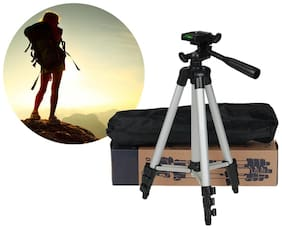 TSV Portable and Foldable Camera - Tripod 3110 with Mobile Clip Holder Bracket, Stand with 3-Dimensional Head