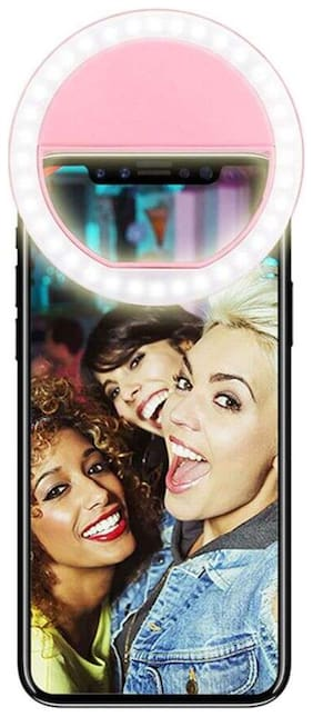 TSV  Portable LED Selfie Ring Light for Smartphones, Tablets and iPhone (Pink)