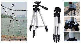TSV Tripod 3110 Long 4 Section Adjustable 3 Way Pan And Tilt Tripod For DSLR | Mobile | Gopro Action Camera | Travel Purpose