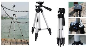 TSV Tripod 3110 Long 4 Section Adjustable 3 Way Pan And Tilt Tripod For DSLR | Mobile | Gopro Action Camera | Travel Purpose