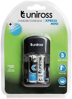 Uniross Xpress Mini Charger With NiMh 2100 mAh AA 2 Rechargeable Battery