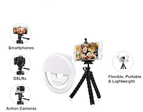 IMMUTABLE Universal Flexible Tripod Clip Stand Mini Flexible for Camera Mobile Phone Holder Stand Octopus Sponge Tripod with Universal Soft Selfie Ring Light 3 Modes and 36 LED for Mobile Phone Photos
