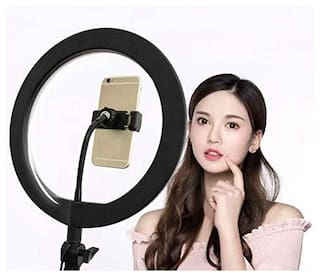 VB Trade 10 inch Selfie Ring Light with Extendable Tripod Stand & Flexible Phone Holder for Live Stream/Makeup, Desktop Led Camera Ringlight for YouTube TIK-Tok Video
