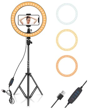 VB Trade Selfie LED Ring Light with Tripod Stand &Cell Phone Holder & 3 Light Mode