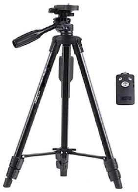 VCT 5208 - High Quality Professional Tripod 51(inch) Portable Camera Tripod With Bluetooth Remote Control Shutter For Mobile Phones with Three-dimensional Head & Quick Release Plate for Canon Nikon