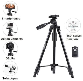 VCT 5208 / 3388 - High Quality Professional Tripod 51(inch) Portable Camera Tripod With Bluetooth Remote Control Shutter For Mobile Phones with Three-dimensional Head & Quick Release Plate for Canon