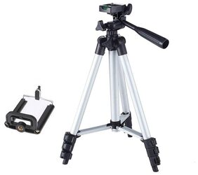 VRAI 3110 Portable & Foldable Camera & Mobile Tripod with Mobile Clip Holder Bracket Fully Flexible Mount Cum Tripod Stand VTS011