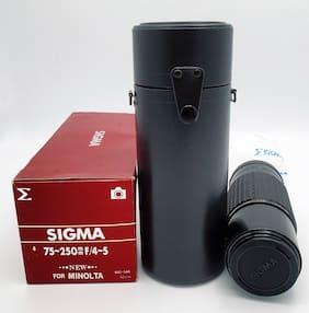 VTG Sigma Zoom 75-250mm F/4-5 Lens For Minolta NEW w/ Box & Manual