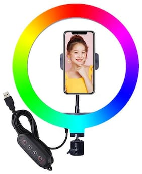 """Webiila RGB LED 10"""" Inch Soft Ring Light, RGB Flash Ring Light for Camera Smartphone YouTube Video Shooting and Makeup, Light for Reels , Vigo and Many More (Without Tripod)"""