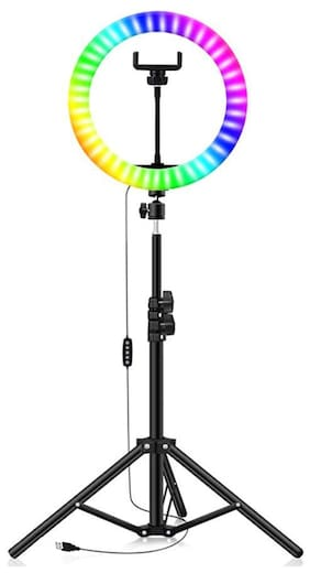 Webilla 10 inch Led RGB Color Selfie Ring Light with 7 Feet Tripod Stand, Light with Cool Warm Mix Light, Led Circle Light for YouTube Video Live Stream Makeup Light Compatible with All Smartphones