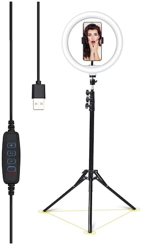"""Webilla 10"""" Ring Light with Stand and Phone Holder, Upgraded LED Selfie Ringlight with Extendable Tripod Stand for Makeup/Photography/Live Stream/Video Recording, Compatible with Phones and Cameras"""