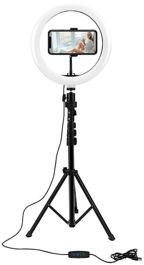 Webilla 10'' Selfie Ring Light with Extendable Tripod Stand,Peteme LED Ring Light with Phone Holder for Live Streaming/Makeup/YouTube Video/Photography,Compatible with iPhone/Android