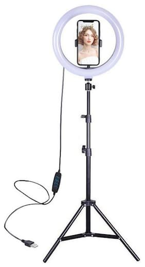 """Webilla 10"""" Selfie Ring Light LED Circle Phone Holder Tripod Stand for iPhone, Android - Great for Live Stream, Makeup/Beauty, Tiktok, YouTube, Video Recording, Studio/Photography Lighting"""