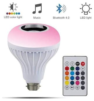 Webilla Led Bulb with Bluetooth Speaker Music Light Bulb B22 LED White + RGB Light Ball Bulb Colorful Lamp with Remote Control for Home, Bedroom, Living Room, Party Decoration Smart Bulb