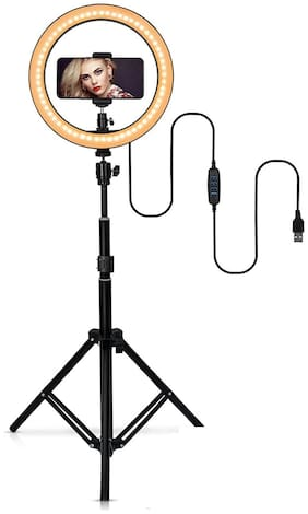 Webilla Selfie Ring Light Tripod Kit, Phone Holder, Aluminum Stand Extends to , USB Powered, Compatible with iPhone & Android, 3 Color Modes, Video, Photos, Makeup, TikTok