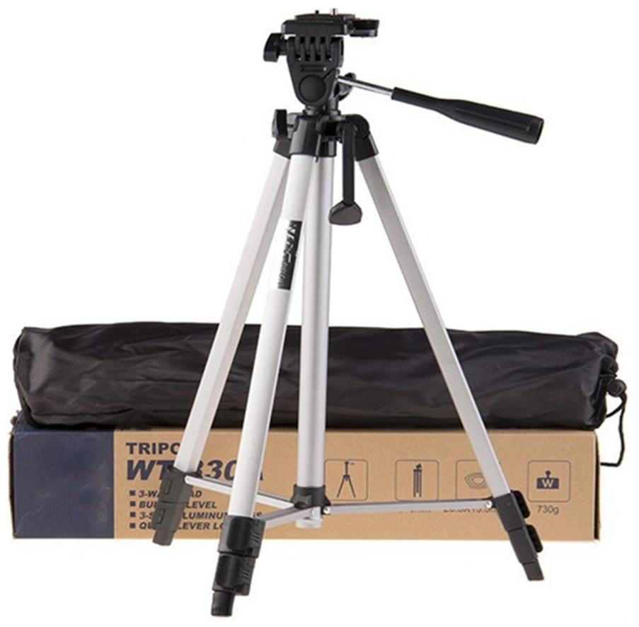 IMMUTABLE WF 330A Professional Lightweight Aluminum Portable Tripod Stand 3 Way Head for Digital Camera Supports Up to 3000 g Silver and Black,330