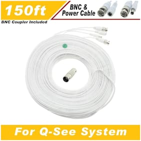 WHITE PREMIUM 150FT BNC CABLES FOR 8 CH QSEE SYSTEMS QT-5140, 578, 5516, 5032