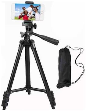 Zettrax Foldable Camera and Phone Tripod with Mobile Clip Holder Bracket, Fully Flexible Mount Cum Tripod