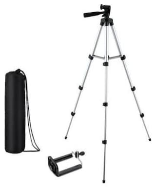 Zonkar Camera Tripod Stand with 3-Way Head Tripod for Digital Camera DV Camcorder, Tripod 3110 with Mobile Phone Holder Mount Tripod Tripod  (Black, Silver, Supports Up to 1500 g)