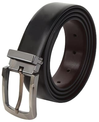 amicraft Brown & Black Genuine Leather Belt For Men