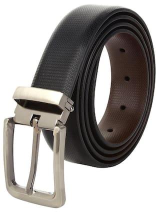 amicraft Genuine Leather Black & Brown Belt for Men