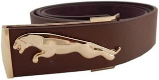 ASF New Collection of Brown leather Jaguar Design Belt with Auto Lock Buckle