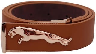 ASF New Collection of Tan Leather Jaguar Design Belt with Auto Lock Buckle