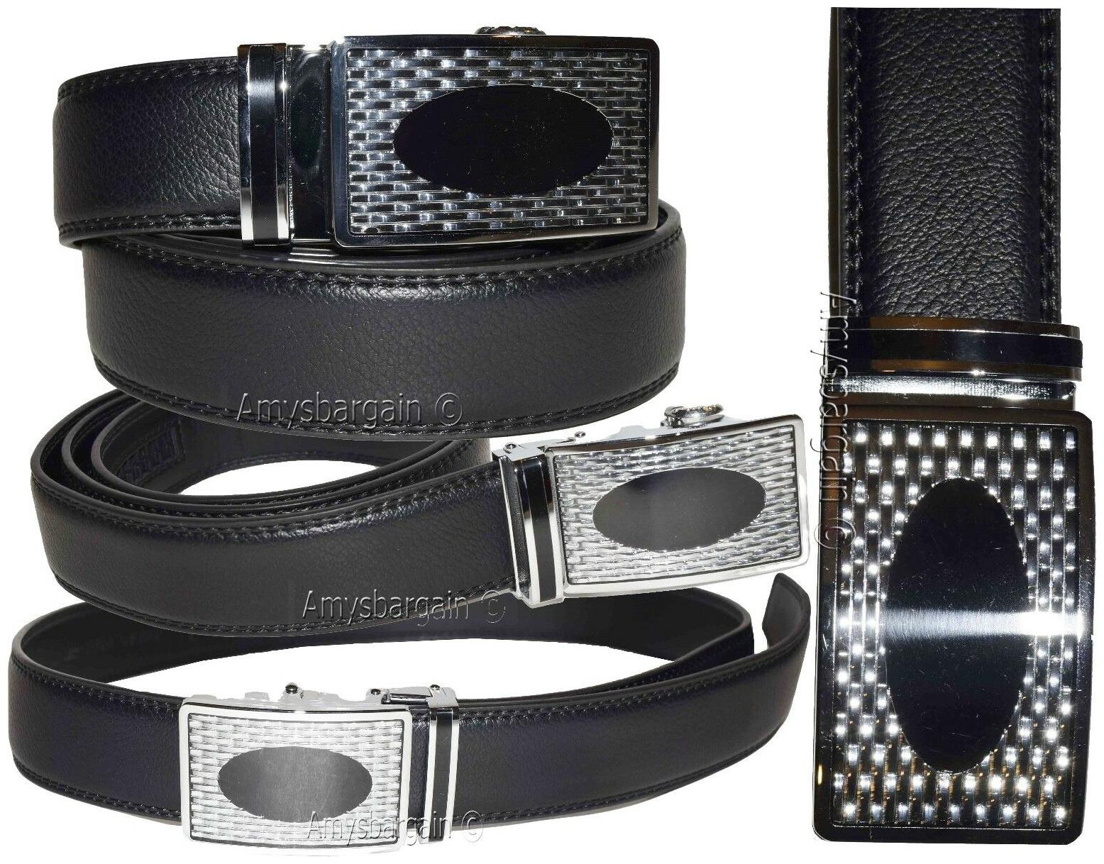 """Leather Dress Belt Automatic lock Click Comfort New Buckle UP to 50/"""" Men/'s belt"""
