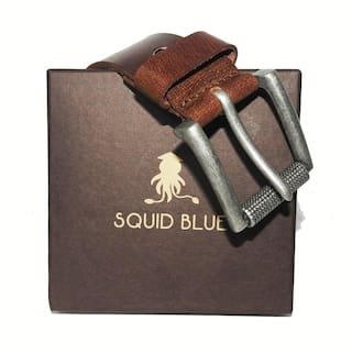 Squide Blue Copper Finish Double Pin Leather Belt