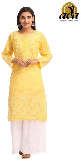 Ada Hand Embroidered Yellow Cotton Lucknow Chikankari Kurti   A229829