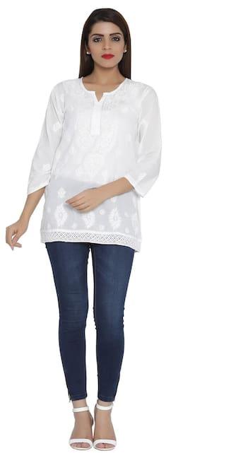 Ada Hand Embroidered White Cotton Lucknow Chikankari Short Kurti