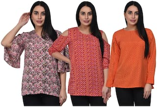 ADORSY Crepe Multi Floral A Line  Top For Women