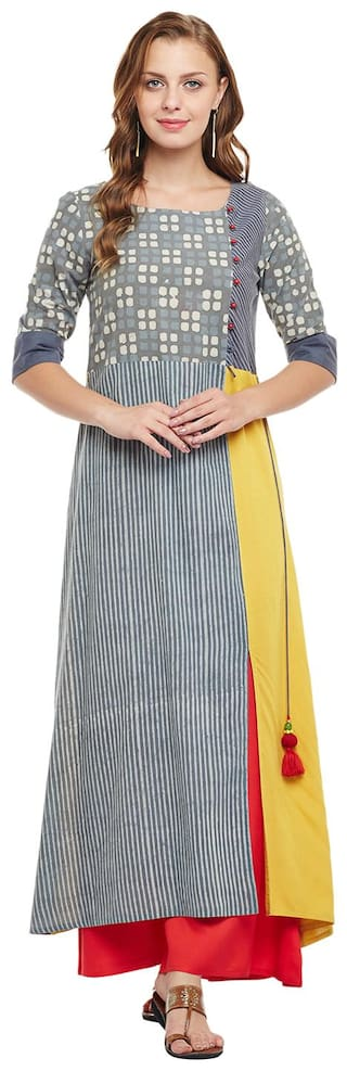 Anaisa Grey & Yellow Rayon Maxi Kurti Dress