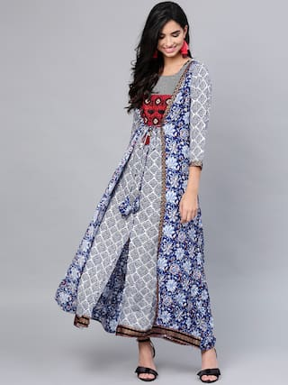 Anaisa Women Blue Straight Rayon Printed Round Neck Maxi Dress