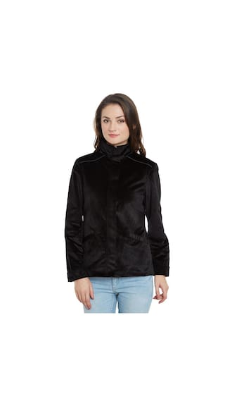 d652141e36 Buy BLACK TEXTURED VELVET JACKET Online at Low Prices in India ...