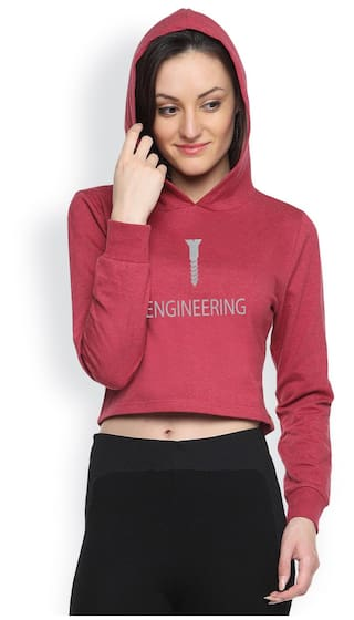 Campus Sutra Maroon Fleece And Cotton Hoody