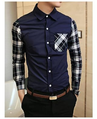 Casual Style Shirt Long Sleeves Polyester Shirt Collar One Pocket Plaid Splicing Long Sleeves Polyester Shirt For Men