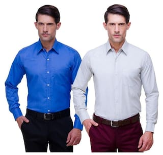 CHOKORE Cotton Blue And White Full Sleeves Formal Shirts Combo
