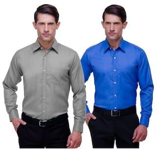 CHOKORE Cotton Grey And Blue Full Sleeves Formal Shirts Combo