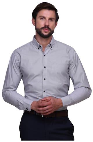 Chokore Mens Full Sleeves Slim Fit Formal White Shirt With Black Stripes