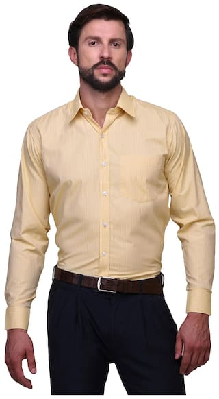 Chokore Slim Fit Yellow Cotton Printed Formal Shirt For Mens