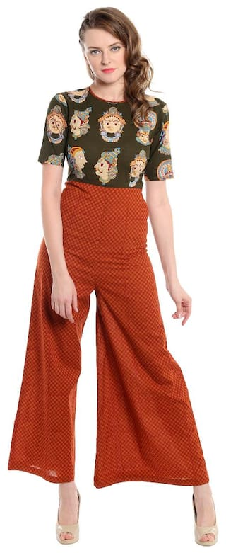 Desi Weavess Millitary green and rust dots Kathak Printed Jumsuit