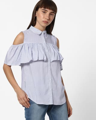 DNMX By Reliance Trends Blue Casual Shirts