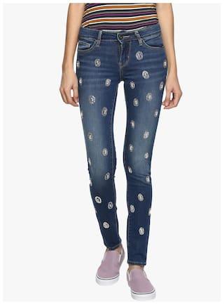 02bbfd763 Buy Estrolo Silver & White Pearl Embellished Dark Blue Women's Jeans ...