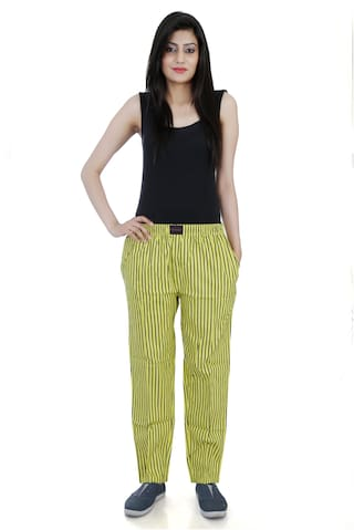 Flamboyant yellow Lineing Cotton Pyjama For Women