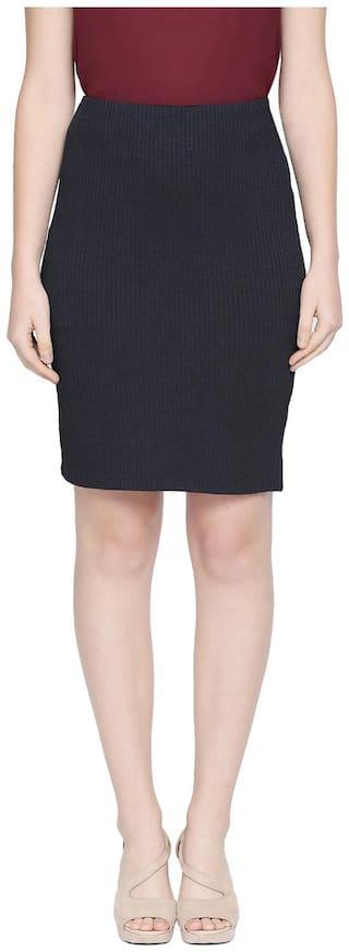 Forever Glam by Pantaloons Solid Straight skirt Midi Skirt - Blue