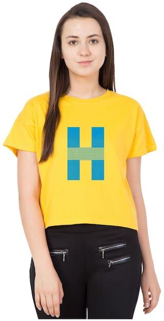 Haoser Women's Round Neck Yellow Cotton Sky Printed Slim Fit Crop Top