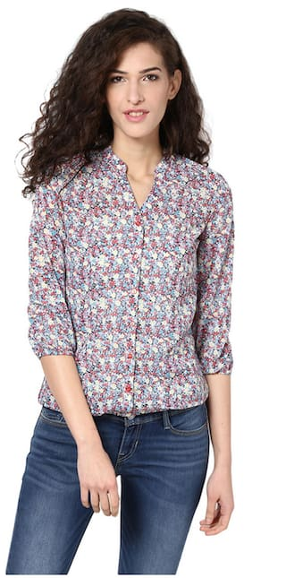 Harpa Multi Polyester And Georgette Top (Size-S)
