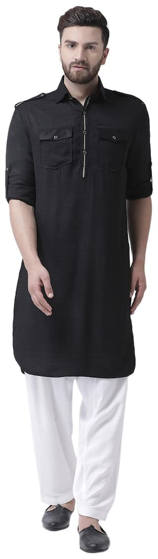I Know Contrast Piping Black Cotton Silk Dobby Men Pathani Kurta Only